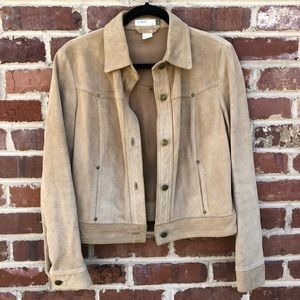 J. Crew Leather Jacket Coat Medium Tan